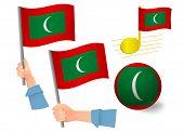 Maldives Flag Icon Set. National Flag Of Maldives Vector Illustration poster