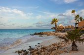 Gorgeous View Of Aruba Coast Line Landscape. Turquoise Water Of Atlantic Ocean, White Sand Beach Wit poster