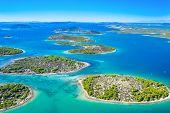 Beautiful Blue Croatian Coast, Small Mediterranean Stone Islands In Murter Archipelago Coastline, Ae poster