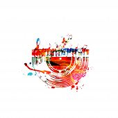 Colorful Music Background With Music Notes And Vinyl Record Disc Isolated Vector Illustration Design poster