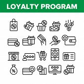 Loyalty Program Bonus Collection Icons Set Vector Thin Line. Bag And Market With Percentage Mark, Pr poster