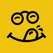 Yummy Smile With Tongue And Mustache. Emoji Face Enjoying Delicious, Tasty Food. Hungry Tongue And S poster