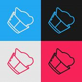Color Line Veterinary Clinic Symbol Icon Isolated On Color Background. Cat Veterinary Care. Pet Firs poster
