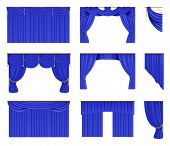 Blue Curtains Set. Realistic Cinema And Theater Stage Borders With Curtaining. Vector Illustration S poster