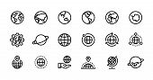 Globe Line Icons. World Sphere With Longitude And Latitude, Travel And Destination Concept. Vector W poster