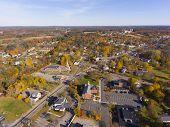 Tewksbury Historic Town Center Aerial View On Main Street In Fall, Tewksbury, Massachusetts, Ma, Usa poster