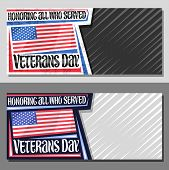 Vector Layouts For Veterans Day With Copy Space, Decorative Coupon With Illustration Of National Red poster