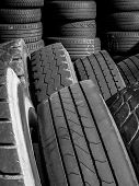 Stacks Of Old Used Tires. It Can Be Used As Concepts And Background. poster