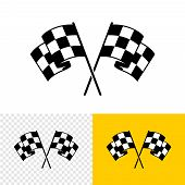 Checkered Race Flags Crossed. Two Start Or Finish Flags In A Cross. Automotive Or Sport Attribute. S poster