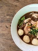 Thai Beef Noodles Braised Taste Delicious In Thai Style On Stainless Steel Table. Very Delicious Loc poster