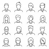 Face Sign Black Thin Line Icon Set Include Of Woman, Man And Senior. Vector Illustration Of Avatar P poster