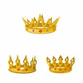 Vector Illustration Of Monarchy And Gold Icon. Collection Of Monarchy And Heraldic Stock Symbol For  poster