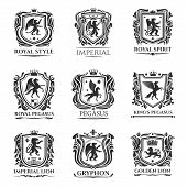 Heraldic Animals Icons. Medieval Vector Shield Emblems Of Horse, Lion And Pegasus With Wings. Herald poster