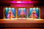 stock photo of vedic  - Image of a very colorful Indian Wedding Mandap - JPG