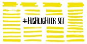 Highlight Brush Lines. Marker Color Stroke, Brush Pen Hand Drawn Underline. Yellow Watercolor Hand D poster