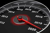 Conceptual 2020 New Year Speedometer On A Black Background. 3d Rendering poster