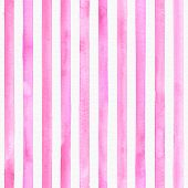 Watercolor Pink Stripes On White Background. Pink And White Striped Seamless Pattern. Watercolour Ha poster