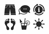 Cocktail, Human Footprints And Swimming Trunks Signs. Chat, Info Sign. Beach Holidays Icons. Summer  poster