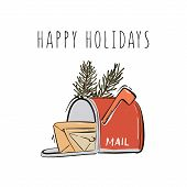 Happy New Year, Merry Christmas Postbox With Mails And Fir Branches Hand-drawn Illustration Winter H poster
