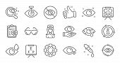 Optometry, Eye Doctor Line Icons. Medical Laser Surgery, Glasses And Eyedropper. Pink Eye, Cataract  poster