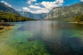 Scenic Lake Bohinj In The Slovenia. Fall Season At The Lake. Bohinj Valley Of The Julian Alps. Upper poster