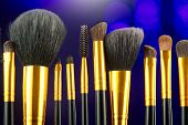 Make-up Brushes set over black holiday blinking background. Various Professional makeup brush on dar poster