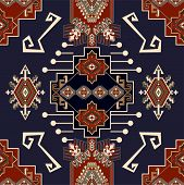 Colorful Ornamental Vector Design For Rug, Carpet, Textile. Seamless Ornamental Wallpaper. Geometric poster