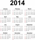 stock photo of august calendar  - Simple Modern Calendar For Year 2014 With Marked Sunday - JPG