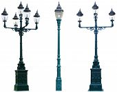 picture of light-pole  - Isolated Antique Lamp Post Lamppost Street Road Light Pole - JPG