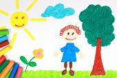 foto of kiddy  - Kiddie style crayon drawing of a green meadow with a tree child sun and a flower - JPG