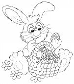 foto of cony  - Funny rabbit with a basket of colorful painted Easter eggs - JPG