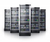 picture of cluster  - Row of network servers in data center isolated on white background with reflection effect - JPG