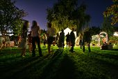 stock photo of moonlit  - people mingling at a free concert by local musicians - JPG