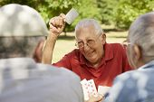 foto of mating  - Active retirement old people and seniors free time group of three elderly men having fun and playing cards game at park - JPG