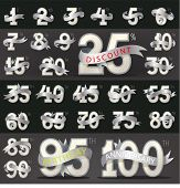 stock photo of numbers counting  - Set of numbers with stylish ribbon for birthday - JPG