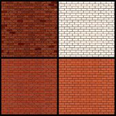 stock photo of brick block  - Set of Seamless Patterns of Brick Walls - JPG
