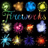 stock photo of firework display  - Great highly detailed fireworks set - JPG