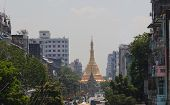 View to Sule Paya (pagoda) from Mahabadoola Road. Yangon. Myanmar.
