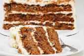 foto of dessert plate  - A slice of carrot cake on a plate with a fork - JPG