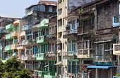 stock photo of yangon  - Colourful blocks of units in Yangon - JPG