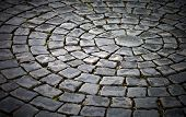 foto of cobblestone  - Background texture of round cobblestone pavement square - JPG
