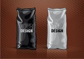 stock photo of tea bag  - Black and white foil bag for new design - JPG