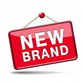 new brand icon or label product promotion and marketing sign poster