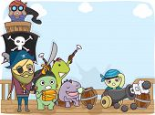 stock photo of raider  - Illustration of a Pirate Crew Composed of Cute Little Monsters Standing on the Deck of the Ship - JPG