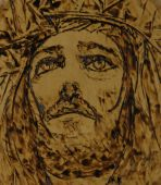 Jesus Woodburning Art