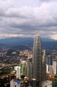 stock photo of petronas twin towers  - Aerial view of the capital of Malaysia with Petronas Towers in the foreground - JPG