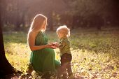 image of maternity  - pregnant mother and her little son in the park at sunset - JPG