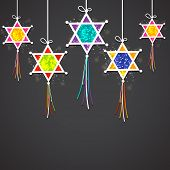 foto of lakshmi  - Indian festival of light Happy Diwali concept with hanging colorful decorative on black background - JPG