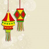 Indian festival of lights, Happy Diwali concept on floral decorated background, with colorful hangin