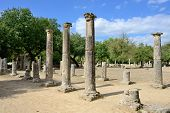 stock photo of olympic-games  - Greece Olympia ancient ruins of the Palaestra area in which athletes trained for wrestling in Olympia birthplace of the olympic games  - JPG